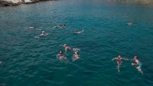 Swimming in the Med after jumping off the boat!