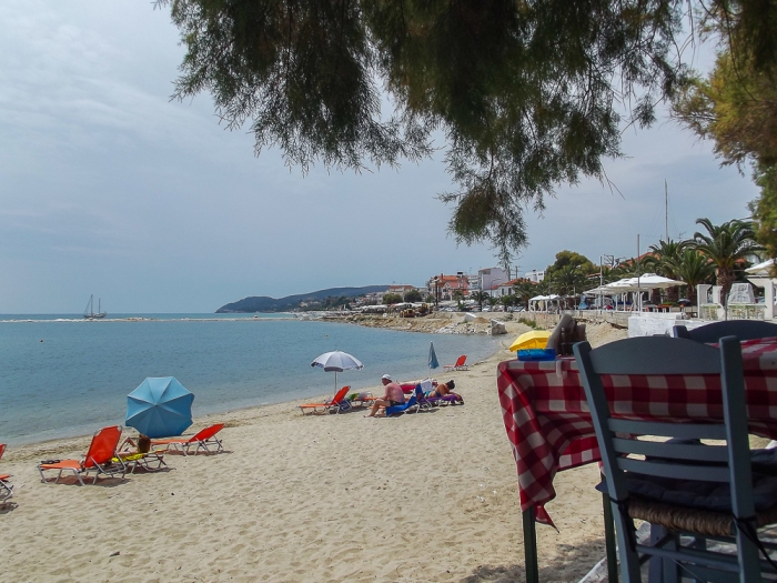 On the beach in Thassos Town.